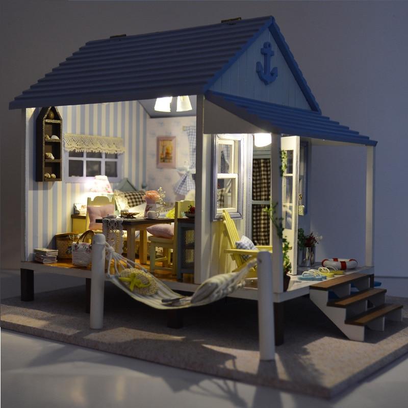 Heminredning Hantverk DIY Doll House Trä Doll Hus Miniatyr DIY - Dockor och tillbehör - Foto 2