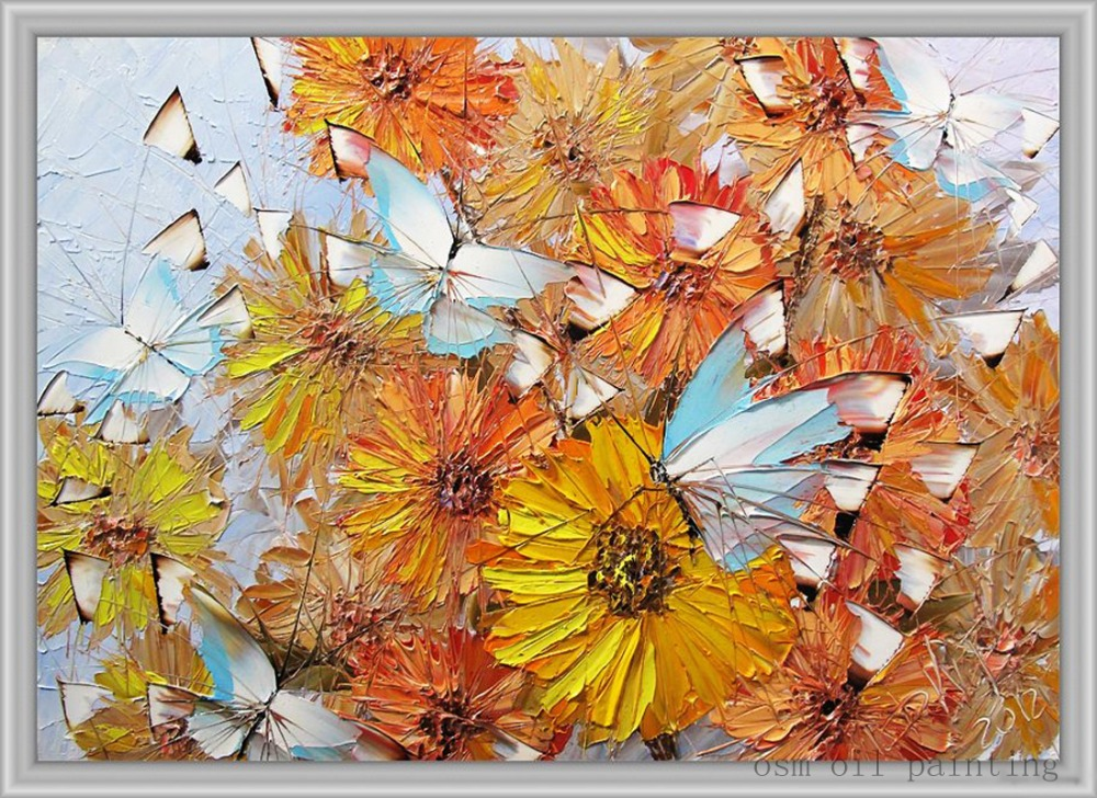 Wall Art Photos Couteau Feuille D'érable Art Peinture Abstraite Peinte à la main Couteau Fleurs Paysage Peinture À L'huile sur Toile pour le Décor