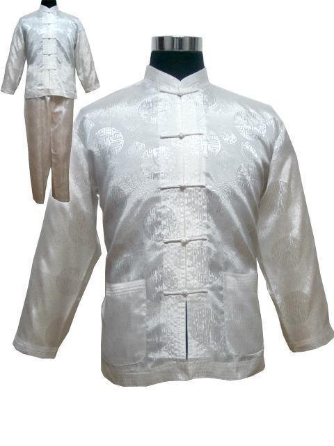 Free Shipping ! White Men's Polyester Satin Pajama Sets Jacket Trousers Sleepwear Nightwear SIZE S M L XL XXL XXXL M3021