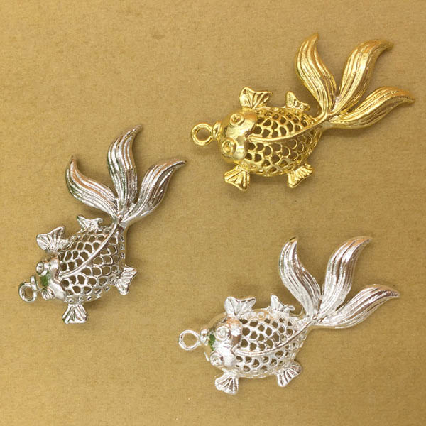 33*18mm Filigree Hollow Goldfish Pendant Charms Zinc Alloy Metal Findings DIY Jewelry Making