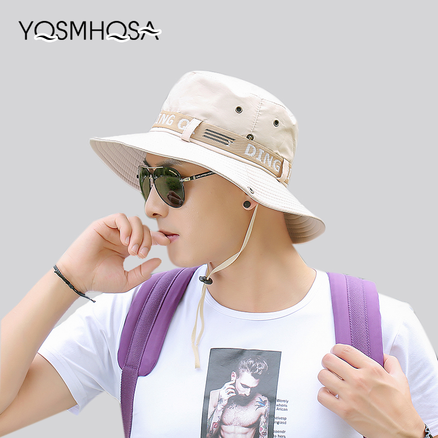 Symbol Of The Brand Korean Summer Men Fishing Bucket Hats Uv Protection Mens Top Wide Brim Caps And Hats Dad Beach Hiking Hat Outdoor Unisex Wh624 Men's Hats Apparel Accessories
