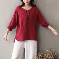 V Neck Long Sleeve Solid Women Blouse Shirt Chinese Style Button Cotton Linen Shirt Brand Original