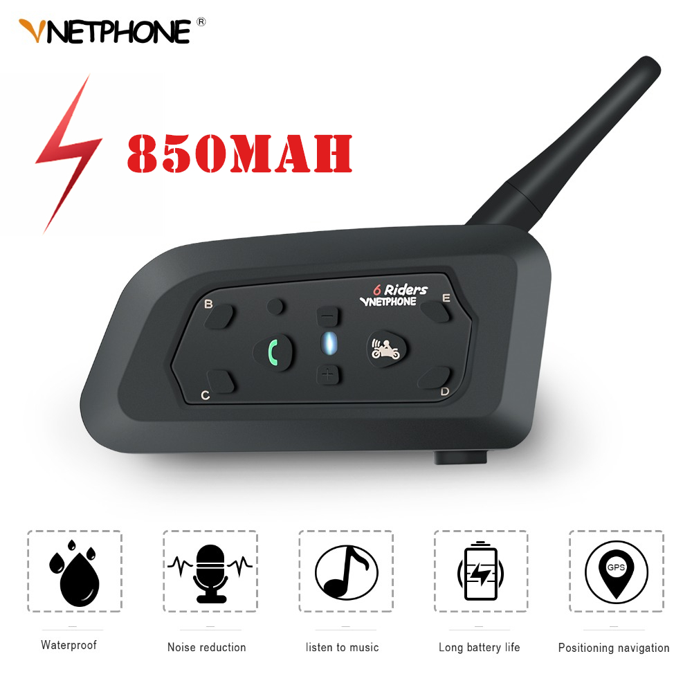 VNETPHONE V6 Intercom Helmet Bluetooth Headset 1200M 850mAh 6 Riders IP65 Waterproof MP3 GPS Intercomunicadores de
