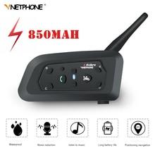 VNETPHONE intercomunicador V6 con Bluetooth para motocicleta, casco con auriculares, 1,2 KM, 850mAh, IP65, 6 conductores, MP3, GPS, interfono