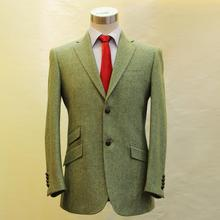 grass green heavy harris tweed with herringbone wool man's business casual suit, tailor made MTM wedding suit free shipping