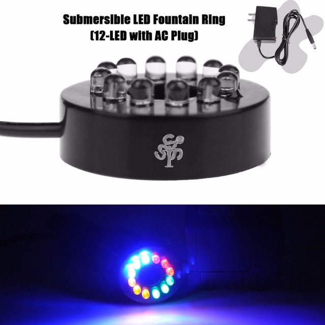 Submersible LED Fountain Ring (12-LED with AC Plug) for Water Pump Kit System