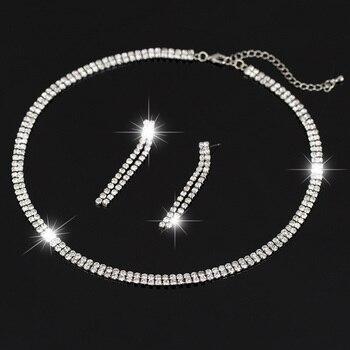 Mulheres Sparkling Rhinestone cristal colar brincos Set charme Set jóias Wedding nupcial 2015 encantos jóias N164