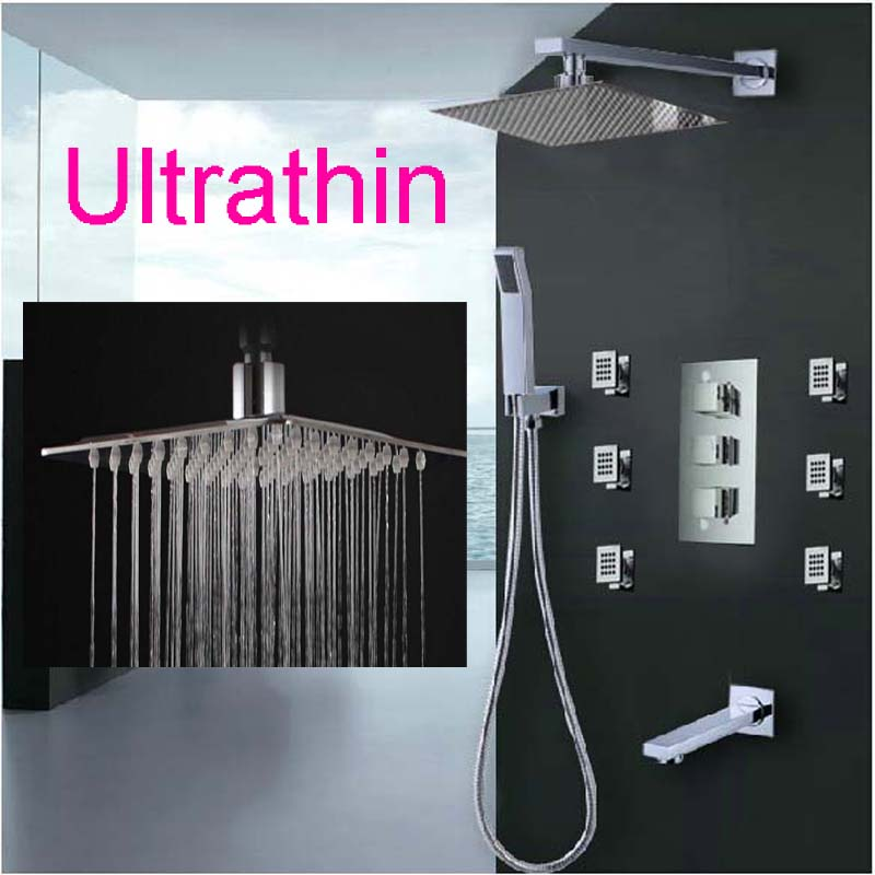 Wholesale And Retail Polished Chrome Brass Square Rain Shower Faucet Tub Spout Hand Shower Massage Jets Thermostatic Valve