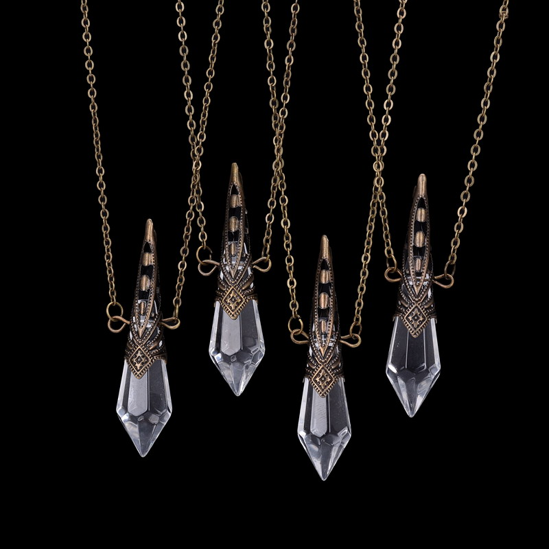 Qilmily Bullet Clear Crystal Glass Hollow Pendants Necklaces for Women Men Retro Bronze Pyramid Geometric Necklace Jewelry Gifts