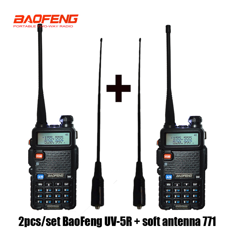 2 Pcs Baofeng UV-5R Radio Set Walkie Talkie UV 5R UV5R Two Way Radio Station Transmitter With Female Soft Radio Antenna 771(China)