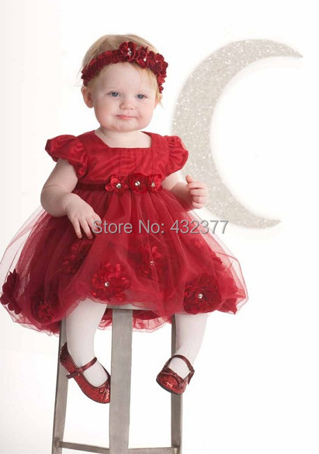 Newest Infant Newborn Baby Clothes Kids Red Flower Costume