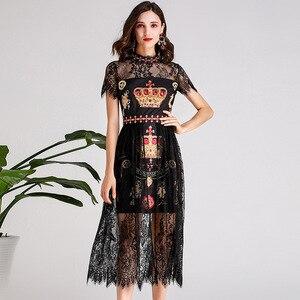 Summer Fashion daimonds women's lace dress High quality rhinestone stand collar vintage dress A439