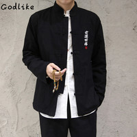 GODLIKE Men Chinese Traditional Tang Suit Jacket Clothing Shaolin Kung Fu Wing Chun Shirt Long Sleeves