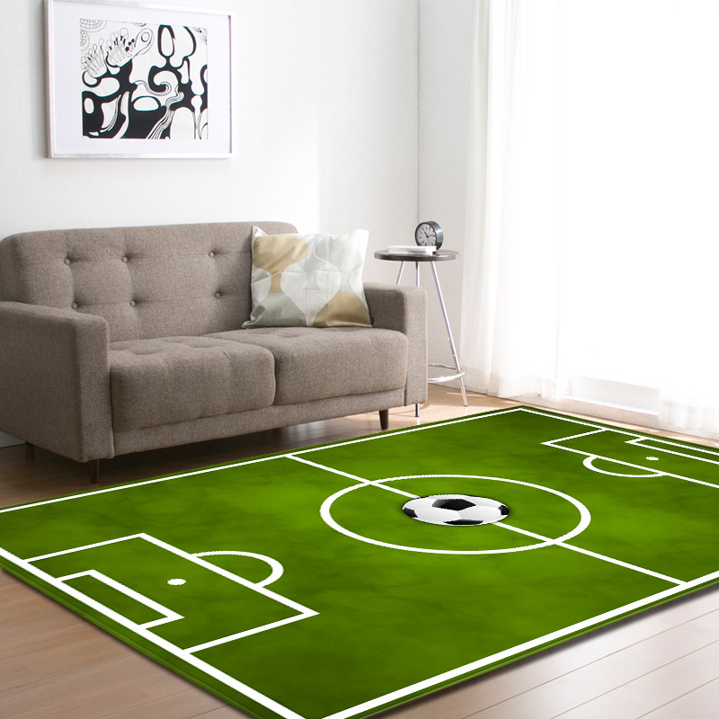 3D Soccer Football Field Rug Carpets Children Play Bed Room Decoration Mat Anti-slip Flannel Bedside Area Rug Parlor Living Room