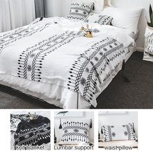 adult baby children cotton Tassel blanket set big handmade plaid crochet knitted blanket thread pillow case cushion cover white
