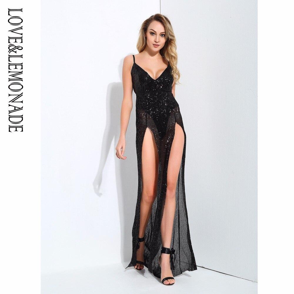 Love Lemonade Cut Out Deep V Neck Open Back Elastic Sequins Long Dress Navy Black Red