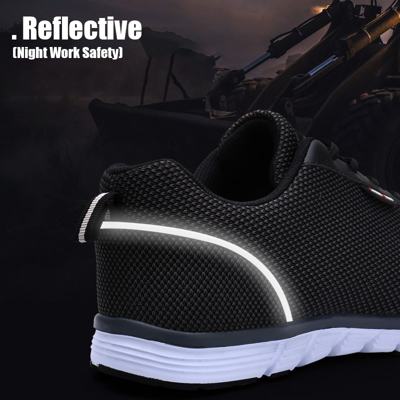 Larnmern Mens Steel Toe Work Safety Shoes Lightweight Breathable Anti-smashing Non-slip Reflective Casual Sneaker Men's Boots