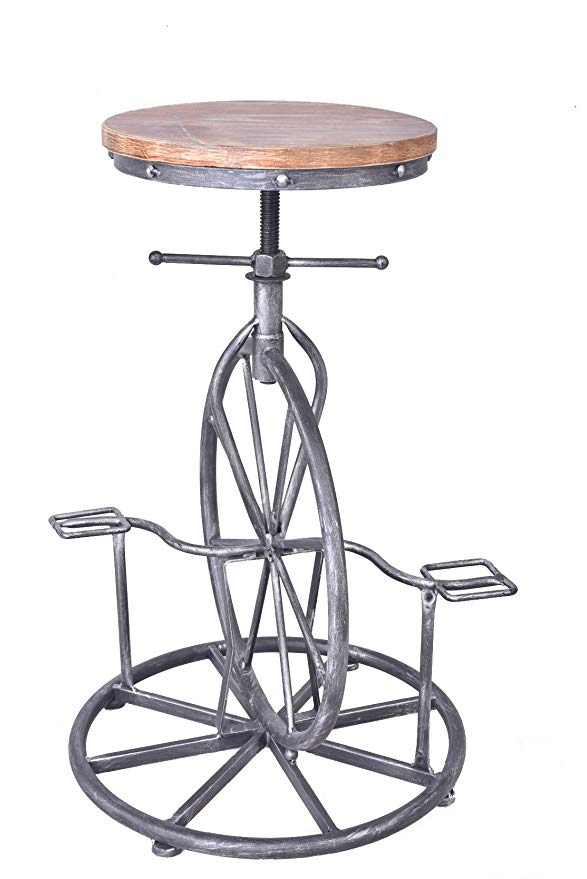 Topower Bar Stool Vintage DIY Solid Wood Seat Iron Pedal Retro Industrial Height Adjustable Chair Bicycle Swivel Bar Chair Seat