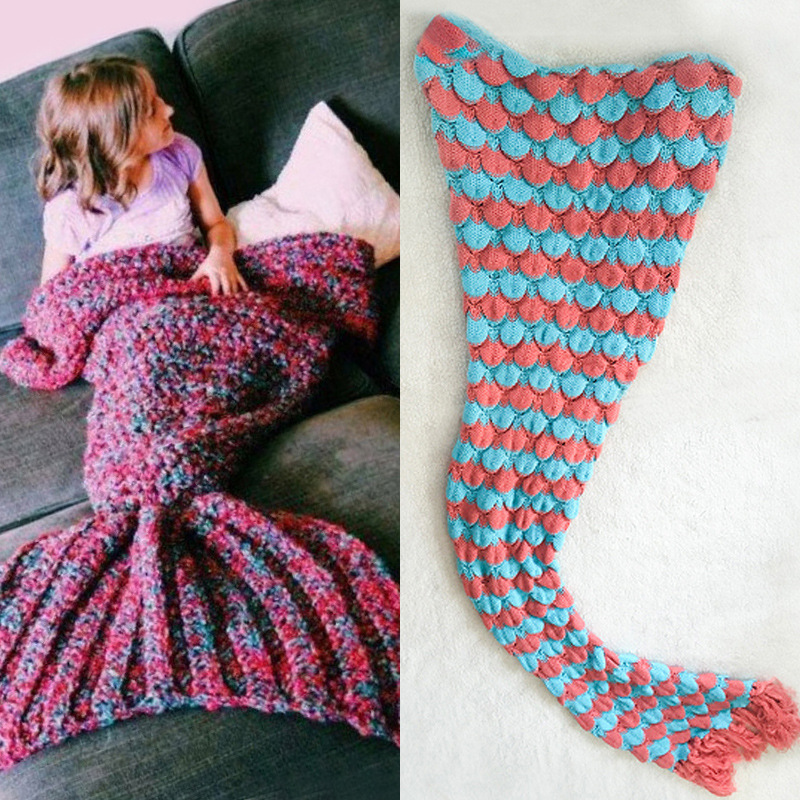 40*90 High Quality Thicken Fashion Handmade Knitted Mermaid Tail Blanket Keep Warm Crochet Children Throw Bed Wrap Sleeping Bag 195x95cm yarn knitted mermaid tail blanket super soft sleeping bed handmade crochet portable blanket for autumn winter