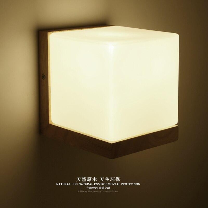 ФОТО Minimalism Solid Wood Wall Lamp Frosted Glass Russian Oak Wood Wall Lights Home Bedroom Sugar Lampe Murale Wall Sconce