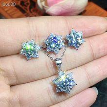 MeiBaPJ настоящий Муассанит комплект ювелирных изделий из драгоценных камней серебро 925-й пробы классический цветок ожерелье серьги кольцо Свадебные украшения для женщин