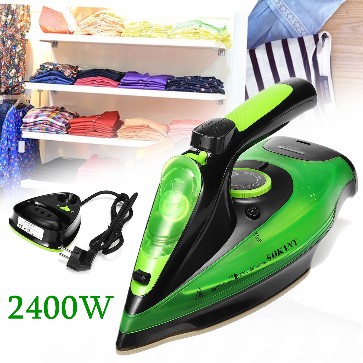 Cordless Wireless Charging Portable Steam Iron 5 Speed Adjust 2400W Clothes Ironing Steamer Portable Ceramic Soleplate