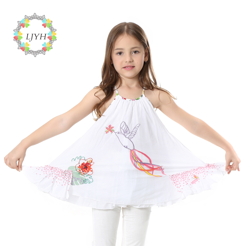 Girl Toddler Sundress Cotton Floral Bird Dress Girls Clothes Kids Apparel Little Girls Summer Dress White|Catimini Dress джемпер в полоску catimini ут 00009343