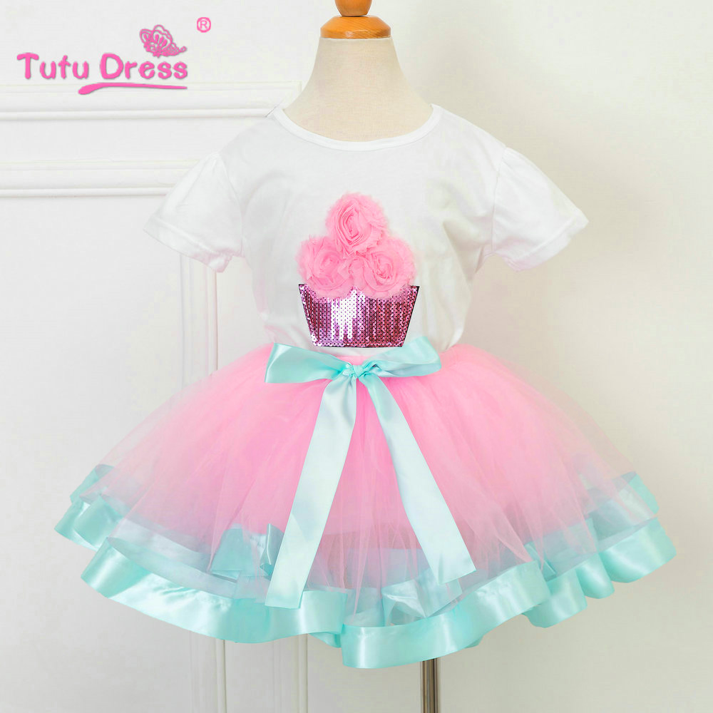 Birthday Tutu Outfit Includes Top T-shirt Pink Aqua Blue Ruffled Tutu Skirt Baby Girl Clothes Girls Clothing Sets