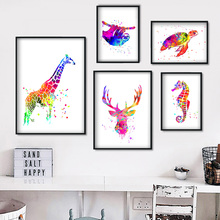 Watercolor Giraffe Deer Seahorse Turtle Wall Art Canvas Painting Nordic Posters And Prints Pictures For Living Room Decor