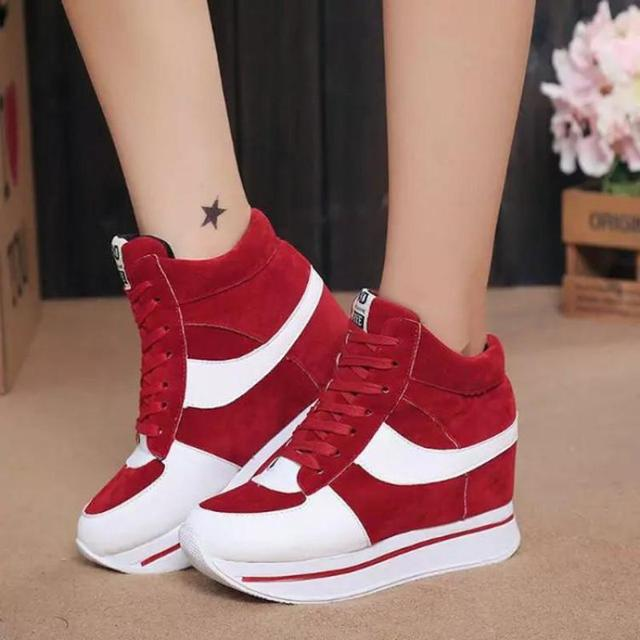 New 2016 Height Increasing Women Shoes High Top Ladies Canvas Casual Shoes Elevator Thick Sole Lace-up Platform Wedges High Heel