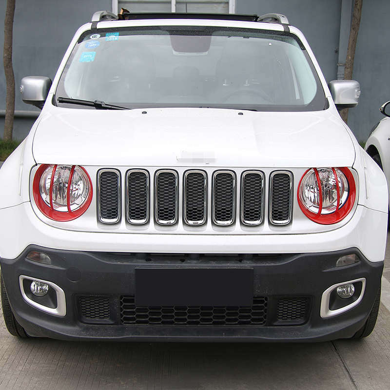 SHINEKA Head-Light-Lamp Cover Renegade Jeep ABS for Trim-Frame-Sticker Decoration Bezels