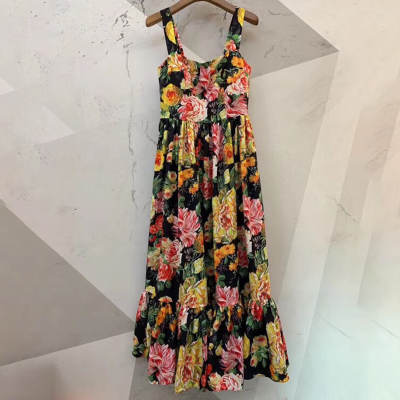 Women Summer Casual Off Should Printed Dress Beach Style High Quality Fashion Spaghetti Strap Long Dresses