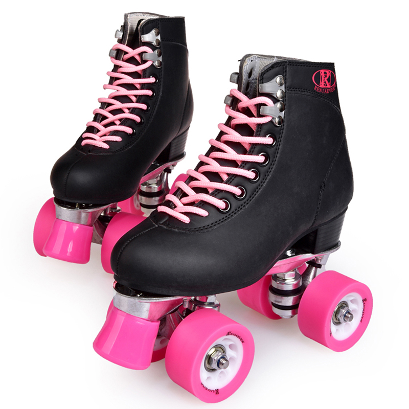 Double row skates, four-wheels adult roller skating rink, metal-soled, black shoes, pink wheel, Street roller skatesDouble row skates, four-wheels adult roller skating rink, metal-soled, black shoes, pink wheel, Street roller skates