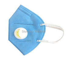 5pcs KN95 blue color vertical folding nonwoven valved dust mask mouth PM2.5 disposable respirator with valve