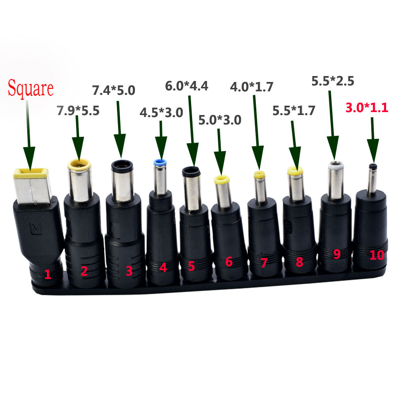 10pcs/Set 5.5x2.1/2.5mm Multi-type Male Jack for DC Plugs for AC Power Adapter Computer Cables Connectors for Notebook Laptop