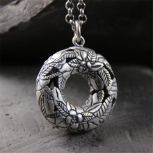 S990 Sterling Silver 32MM Round Hollow Peace Clasp Necklace Pendant For Women With Flower Carved 17.4G