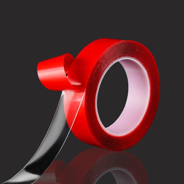 Adhesivo acrílico de doble cara súper fino transparente y acrílico sin residuos largo 3 m sin rastro.