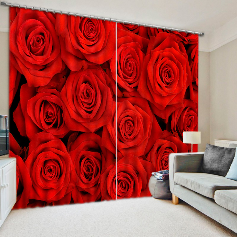 Decoration Home Sheer Curtains Custom Red Rose Window Curtain Living Room Beautiful 3d