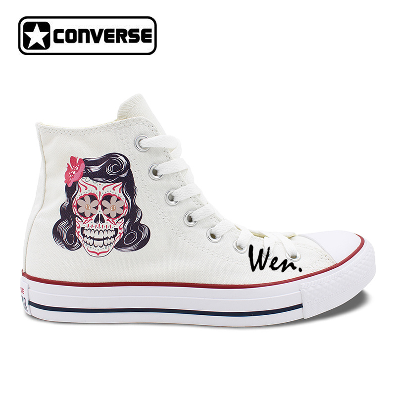 b95c94fbaccd07 Men Women Converse 척 Taylor White Canvas Shoes Femal Male Mexican Skull  Tattoo (High) 저 (탑 Sneakers Gifts 생일 선물한다-에서Men Women Converse 척 Taylor ...