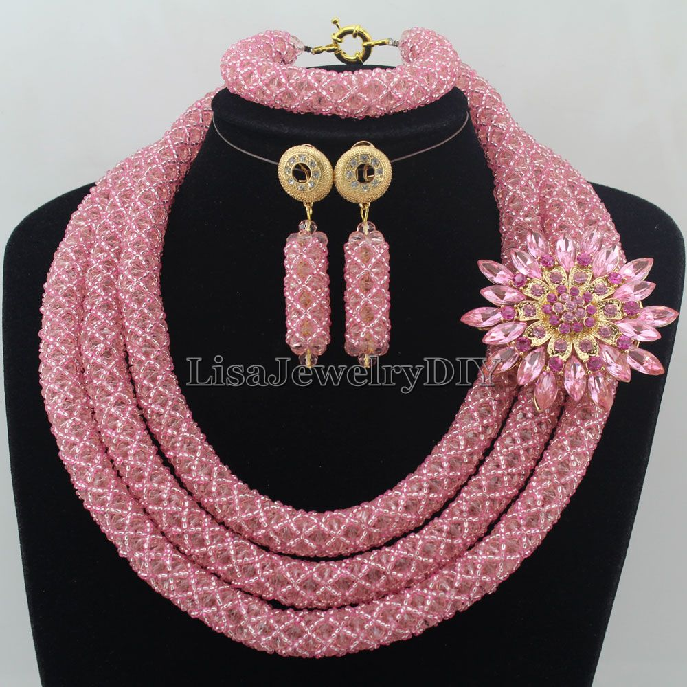 Nigerian Wedding African Beads Rushed Classic Women Crystal Jewelry Set New Arrived Nigeria Set Necklace Africa