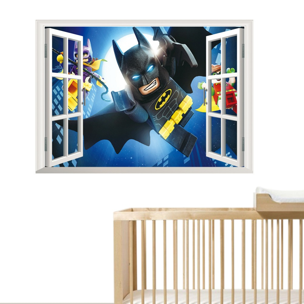 Lego Batman Super Hero Nursery Mural Wall Decal Baby Boy Decoration