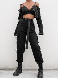 HEYounGIRL Joggers Black High Waist Female Trousers Ladies