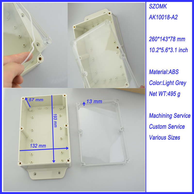 10 pieces a lot  transparent cover IP 68 waterproof plastic enclosure 260*143*78MM 10.2*5.6*3.1 inch electronics enclosure 5 pieces lot d1fh3 1f electronics component