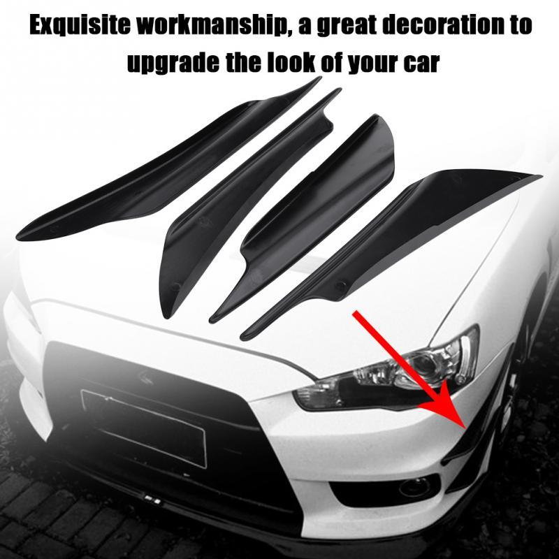 Universal Exterior Front Bumper Lip Splitter Fins Spoiler Canards Bumper Guard Decoration