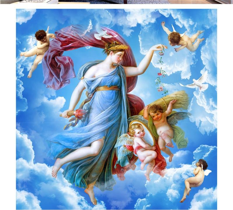 Menyesuaikan Setiap Ukuran 3D HD Interior Dekorasi Cinta Allah Mengirimkan Zenith Sutra Lukisan Wallpaper