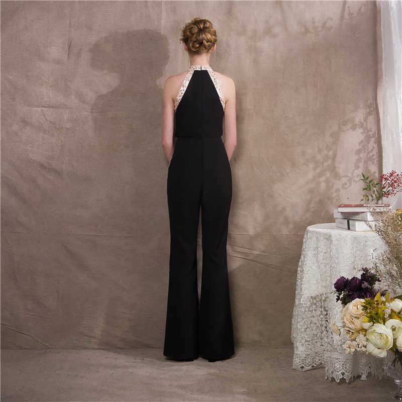 It's Yiya вечернее платье Pantst Мода черный Холтер Bling Кристалл сзади молния облегающее боди строгие брюки костюм NX013 в наличии