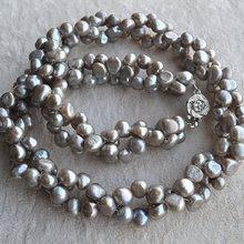 Роскошное жемчужное ожерелье, очаровательное серое ожерелье в стиле барокко пресноводная жемчужина, AA 6-7 мм 16-20 дюймов