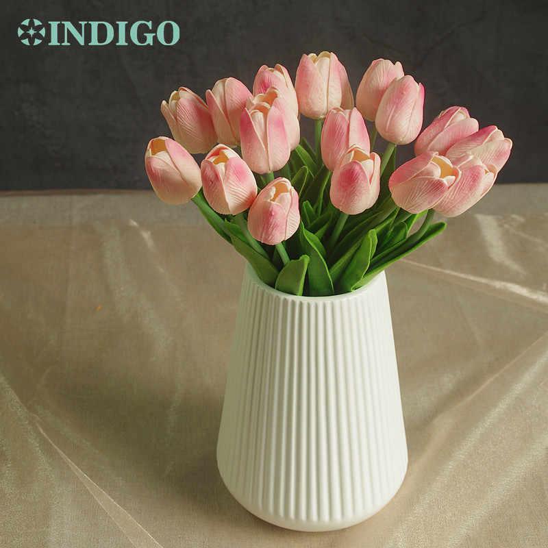 INDIGO-20 piezas Mini tulipán rosa de alta calidad Holanda Flor del hogar toque Real flor Artificial boda flor fiesta envío gratis