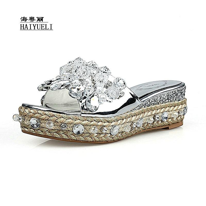 Producto Mujeres De Del Superior Plata Zapatos Diamante Sandalias Genuino Cuero Hechos Puros Zapatillas A Mano Lujo Cuña pr5pxgPqw