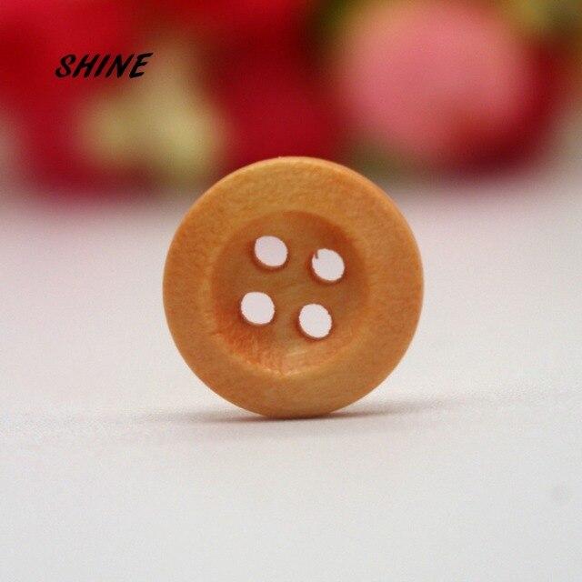 200PCs Decorative Buttons Light Coffee Color 4 Holes 15mm Sewing Wooden  Buttons Flatblck Scrapbooking